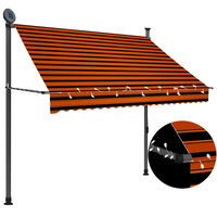 vidaXL Toldo retrátil manual com LED 200 cm laranja e castanho
