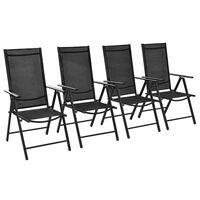 vidaXL Cadeiras de jardim dobráveis 4 pcs alumínio e textilene preto