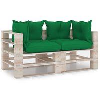 vidaXL Sofá de paletes jardim 3 lugares c/ almofadões madeira de pinho