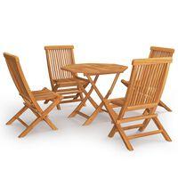 vidaXL 5 pcs conjunto de jantar p/ jardim madeira de teca maciça