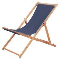 vidaXL Cadeira de praia dobrável tecido e estrutura de madeira azul