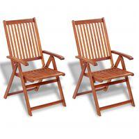 vidaXL Cadeiras jardim dobráveis 2 pcs madeira acácia maciça castanho