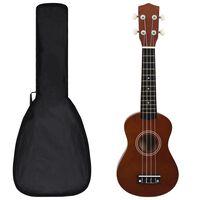 "vidaXL Conjunto ukulele soprano infantil c/ saco madeira escura 21"""