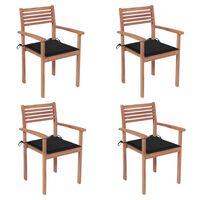vidaXL Cadeiras de jardim c/ almofadões pretos 4 pcs teca maciça