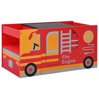 vidaXL Conjunto mesa e cadeira criança 3 pcs camião bombeiros madeira