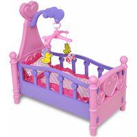 Cama boneca brinquedo, cor-de-rosa + roxo