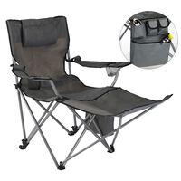 HI Cadeira de campismo luxuosa c/ apoio para os pés antracite