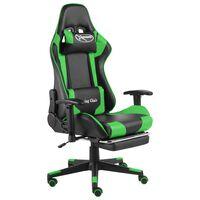 vidaXL Cadeira de gaming giratória com apoio de pés PVC verde