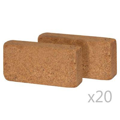 vidaXL Bloco em fibra de coco 40 pcs 650g 20x10x4 cm