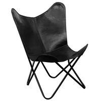 vidaXL Cadeira borboleta em couro genuíno preto