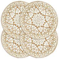 vidaXL Individuais de mesa 4 pcs juta 38 cm redondo branco