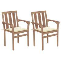 vidaXL Cadeiras de jardim c/ almofadões cor creme 2 pcs teca maciça