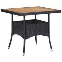 vidaXL Mesa de jantar p/ exterior vime PE/madeira acácia maciça preto