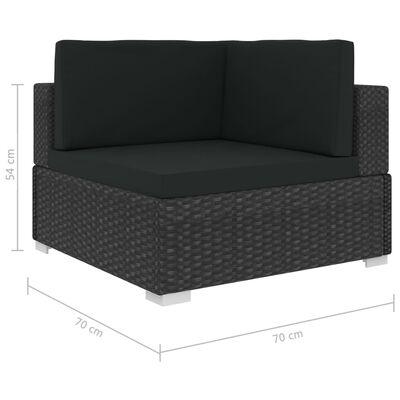 vidaXL 6 pcs conjunto lounge de jardim c/ almofadões vime PE preto