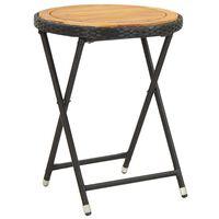 vidaXL Mesa de chá 60 cm vime PE e madeira de acácia maciça preto