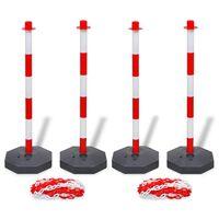 vidaXL Conjunto de 4 postes e 2 correntes de plástico com 10 m cada
