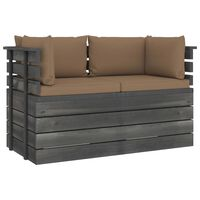 vidaXL Garden 2-Seater Pallet Sofa with Cushions Solid Pinewood (2x315419+2x315072)