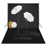 vidaXL Kit estúdio fotográfico com lâmpadas/sombrinhas/fundo/refletor