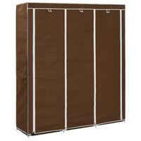 vidaXL Roupeiro compartimentos e varões 150x45x175cm tecido castanho