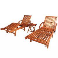 vidaXL Espreguiçadeiras com mesa 2 pcs madeira acácia maciça