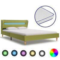 vidaXL Cama c/ LED e colchão espuma de memória 120x200 cm tecido verde