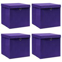 vidaXL Caixas de arrumação com tampas 4 pcs 32x32x32 cm tecido roxo