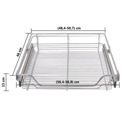 vidaXL Cestos de arame extraíveis 2 pcs 600 mm prateado