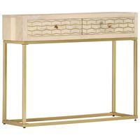 vidaXL Mesa consola 90x30x75 cm madeira de mangueira maciça dourado