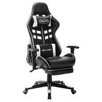 vidaXL Cadeira de gaming c/ apoio de pés couro artificial preto/branco