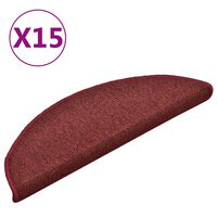 vidaXL Tapete/carpete para degraus 15 pcs 56x17x3 cm vermelho