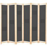 vidaXL Divisória de quarto com 6 painéis 240x170x4 cm tecido cinzento