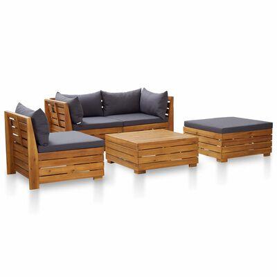 vidaXL 5 pcs conjunto lounge jardim c/ almofadões acácia cinza-escuro