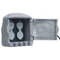 vidaXL Unidade 4 tomadas c/ controlo remoto resina poliéster cinzento