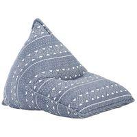 vidaXL Sofá/pufe retalhos de tecido azul índigo