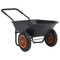 vidaXL Carrinho de mão 78 L 100 kg preto e laranja