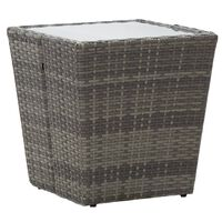 vidaXL Mesa de chá 41,5x41,5x43 cm vime PE e vidro temperado cinzento
