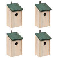 vidaXL Casas para pássaros 4 pcs madeira 12x12x22 cm