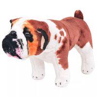 vidaXL Brinquedo de montar bulldog peluche branco e castanho XXL