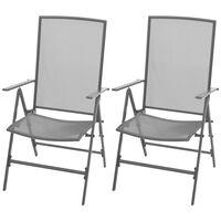 vidaXL Cadeiras de jardim empilháveis 2 pcs aço cinzento