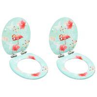 vidaXL Assentos sanita com tampas fecho suave 2pcs MDF design flamingo