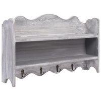 vidaXL Cabide de parede 50x10x30 cm madeira cinzento