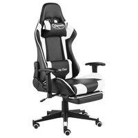 vidaXL Cadeira de gaming giratória com apoio de pés PVC branco