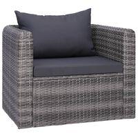 vidaXL Cadeira de jardim c/ almofadão e almofada vime PE cinzento