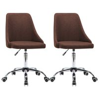 vidaXL Cadeiras de escritório com rodas 2 pcs tecido castanho