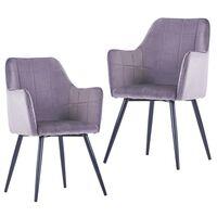 vidaXL Cadeiras de jantar 2 pcs veludo cinzento