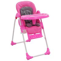 vidaXL Cadeira de refeição para bebé rosa e cinzento