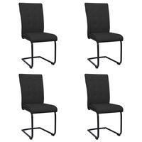 vidaXL Cadeiras de jantar cantilever 4 pcs tecido preto