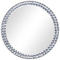 vidaXL Espelho de parede 70 cm vidro temperado prateado