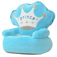vidaXL Cadeira em pelúcia infantil, príncipe, azul
