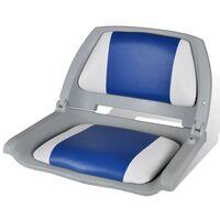 Assento do barco Dobrável Com Almofada Azul-branco 41 x 51 x 48 cm